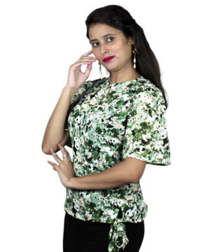 White printed knot women's top