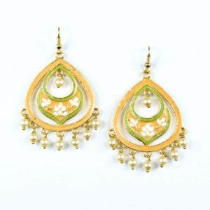 minakari peach earring