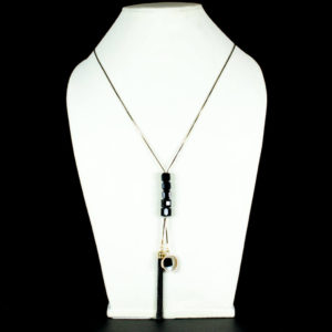 Black square crystal long chain