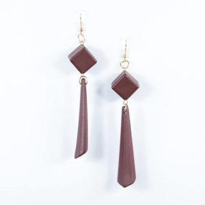 maroon cubic hanging earring