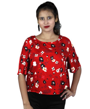 Red floral boxer top