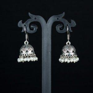 White pearl silver oxidised jhumka