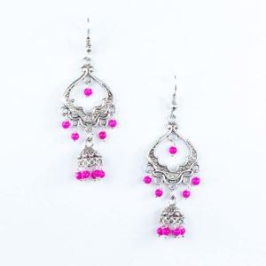 Silver pink jhumka earring
