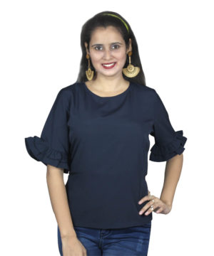 Blue ruffled layer sleeves top