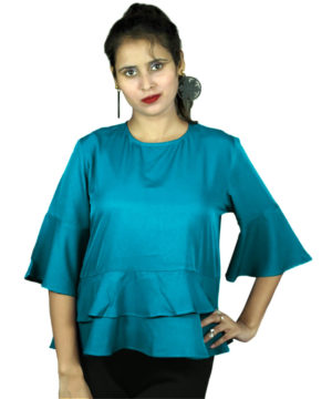 Blue double layer women's top