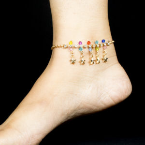 Golden star beads anklet
