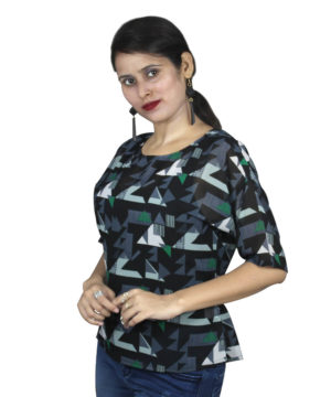 Black abstract knot print top