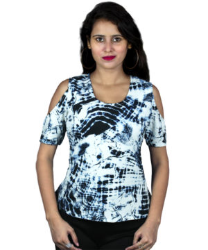 Abstract print cold-shoulder top