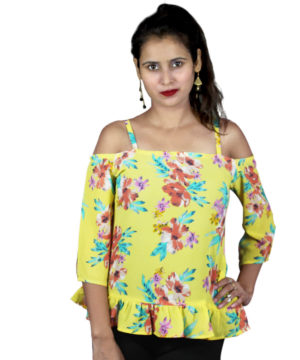 Yellow floral printed cold-shoulder top