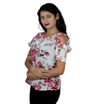 White floral printed cold shoulderd top