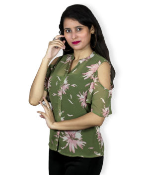 Green floral print cold sleeves shirt top