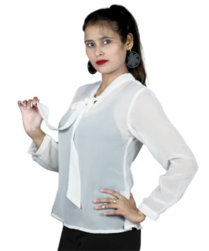white knot Solid womens top
