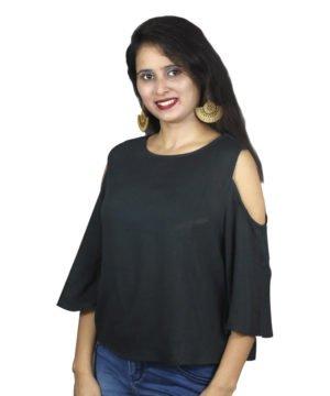 Black cold sleeves women top